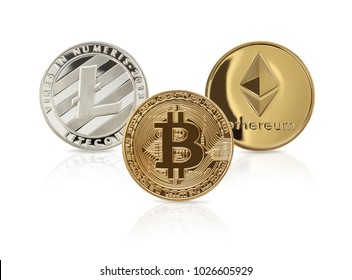 Studio shot of  ethereum, litecoins, Bitcoin, on white background.Digital virtual currency