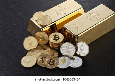 Studio shot of ethereum, litecoins, Bitcoin, on gold nugget .Digital virtual currency