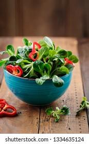 Studio Shot of fresh green Corn Salad with sweet pepper paprika rings