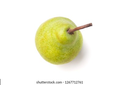 Studio shot of fresh green natural packham pear isolated on white, top view.