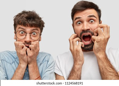 Studio shot of frightened two bearded guys have nervous expressions, keep hands near mouth and stare with bugged eyes, notice car accident, isolated over white background. People and fear concept