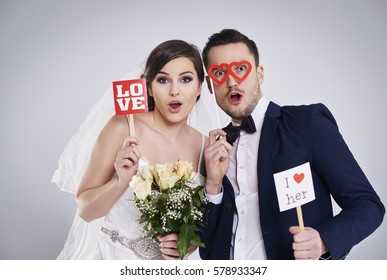 Studio shot of funny and young marriage