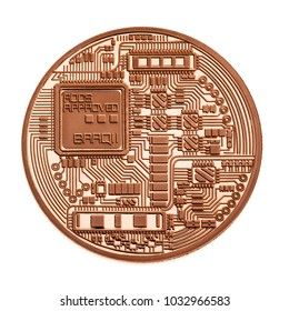 Studio shot of a generic cryptocurrency physical copper or bronze coin isolated over a white background. Bitcoin is a blockchain crypto currency