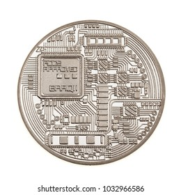 Studio shot of a generic cryptocurrency physical silver coin isolated over a white background. Bitcoin is a blockchain crypto currency