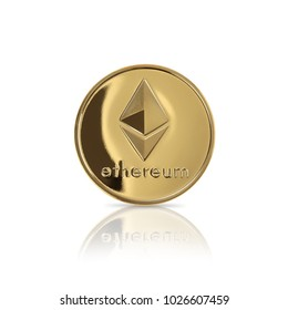 Studio shot of Gold ethereum on white background