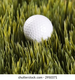 Studio shot of golfball resting in grass.