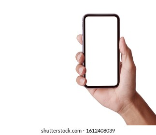 Studio shot of Hand holding Smartphone iPhone 11 Pro Max with blank screen for Infographic Global Business web site design app, - Clipping Path