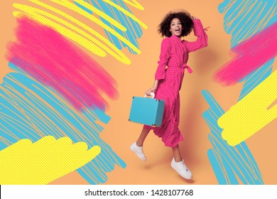 Studio shot of happy playful black woman fooling around and jumping on orange background. Creative header with different shapes and textures. Collage.