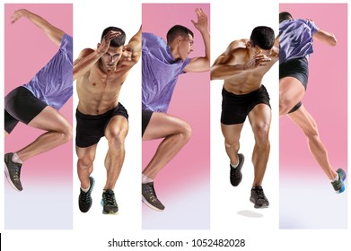 The studio shot of high jump athlete is in action isolated on white background. Collage with one fit model. one caucasian man runner jogger running or jogging isolated on white and pink studio