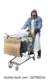 Studio shot of homeless man with beard pushing a shopping cart with all his possessions on a white background.
