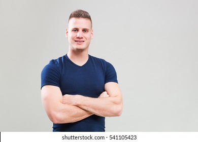Studio shot image of young man who is ready for workout.