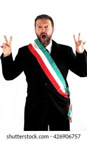 Studio shot of an italian Mayor on white background
