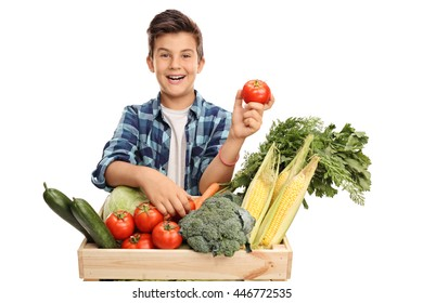 Studio shot of a joyful boy posing behind a crate full of vegetables and holding a single tomato isolated on white background