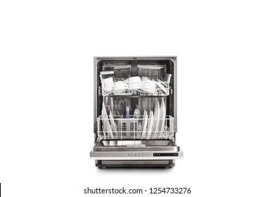 Studio shot of a loaded dishwasher isolated on white background