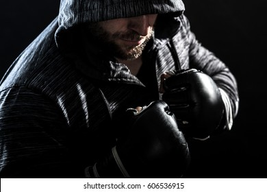 Studio shot of male boxer