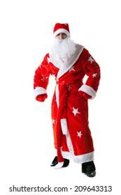 Studio shot of man dressed as Santa Claus