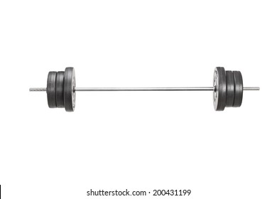 Studio shot of a metal barbell isolated on white background