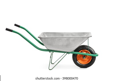 Studio shot of a metal wheelbarrow with green handles isolated on white background
