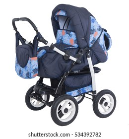 Studio shot of a modern baby blue stroller isolated against white background