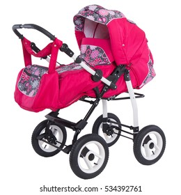 Studio shot of a modern baby pink stroller isolated against white background