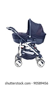 A studio shot of a modern baby stroller isolated against white background