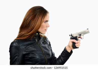 studio shot on white background: young beauty woman holding .44 Magnum handgun, ready to fight