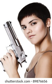 studio shot on white background: young woman holding .44 Magnum