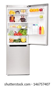Studio shot of an open fridge full of healthy food products isolated on white background