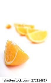 Studio shot of oranges on white background