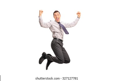 Studio shot of an overjoyed businessman shot in mid-air while jumping out of joy isolated on white background