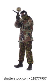 Studio shot of paintball player isolated in white background