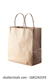 studio shot of a paper bag isolated on white background.
