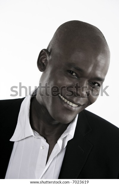 studio shot portrait of a smiling forty Handsome Afro-American Man
