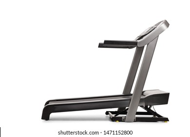 Studio shot of a professional treadmill with incline isolated on white background