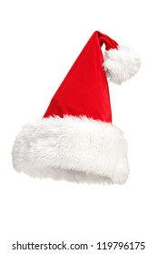A studio shot of a Santa hat isolated on white background