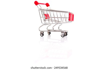 Studio shot of a  shopping cart isolated over white