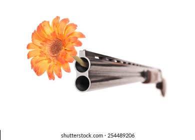 Studio shot of a shotgun with a flower in its barrel with the focus on the flower isolated on white background
