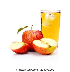 Studio shot of sliced wet red apple with leaf,water drops and apple juice with ice isolated on a white background