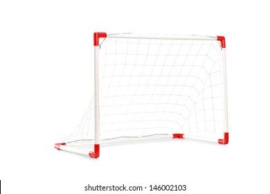 Studio shot of a small soccer goal isolated on white background