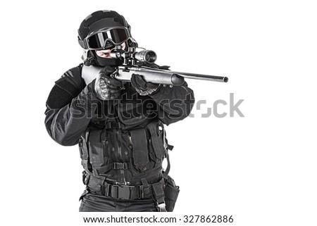 Studio Shot Swat Operator Sniper Rifle Foto de stock (editar ahora ...