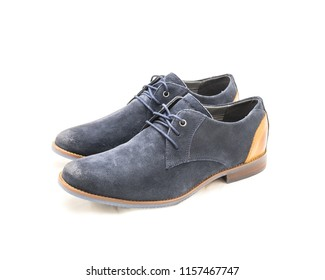 Studio shot top view brand new a pair set dark blue men blucher dress shoes isolated on white background. Formal dress code for man