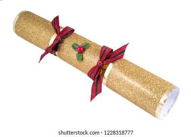 A studio shot of a traditional Christmas Cracker.
