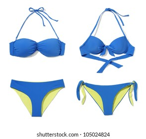 Studio shot of two part bikini isolated on white background.