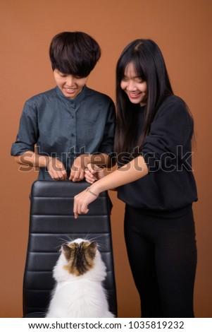 Studio Shot Young Asian Lesbian Couple Stock Photo (Edit Now ...