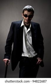 Studio shot of young man in suit