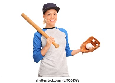 Studio shot of a young woman holding a baseball bat and looking at the camera isolated on white background