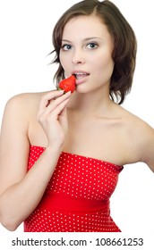 studio shot of a young woman with strawberry, isolated on white