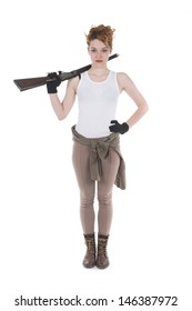 Studio shots of a young woman with rifle