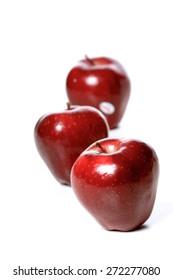 Studio soht of red apples on white background