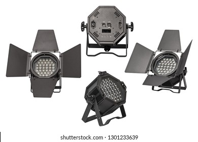 Studio theatre video film stage LED spot spotlight lamp light with barn doors. For studio, theatre stage productions, photographic, video/film producing, concerts. Isolated on 255 white background.